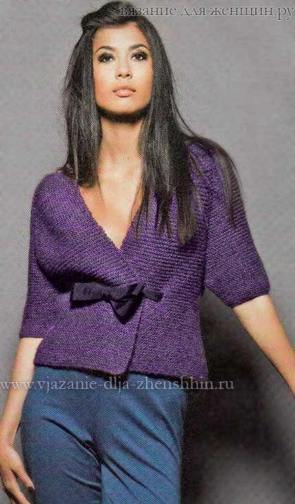 Женский жакет платочной вязкой