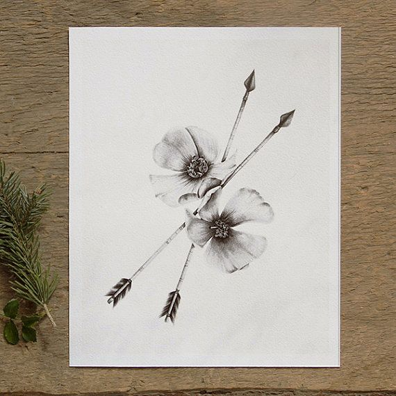 Wild Rose and Arrows 8x10 Giclee Fine Art Print by BurrowingHome