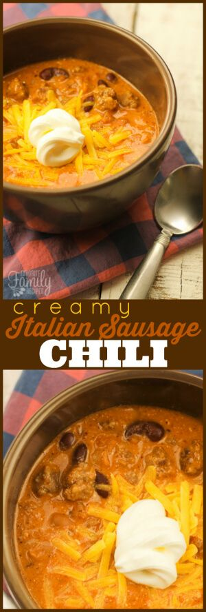 You are going to love this Creamy Italian Sausage Chili!  Perfect for cold Autumn nights.  It is creamy and hearty with a little bit of a kick. via @favfamilyrecipz
