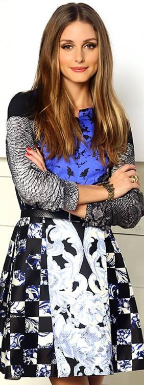 Who made  Olivia Palermo's blue and black print dress?