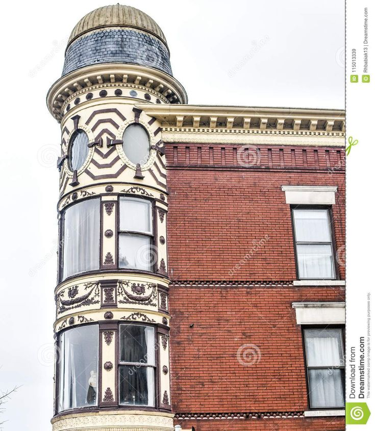 Ornamental Turret Downtown Janesville Wisconsin Stock Image Image Of Victorian Architecture 115013339 Turret Old Bricks Brick Building