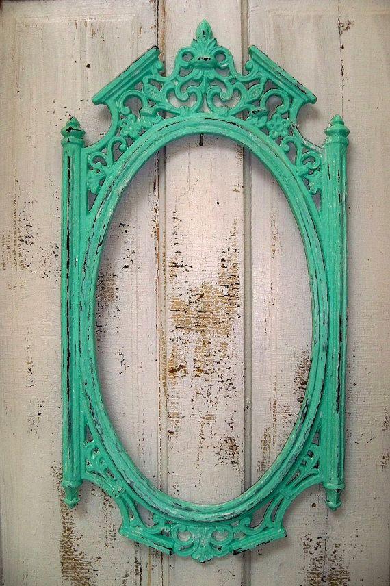sea glass green ornate frame large vintage by anitasperodesign 14000