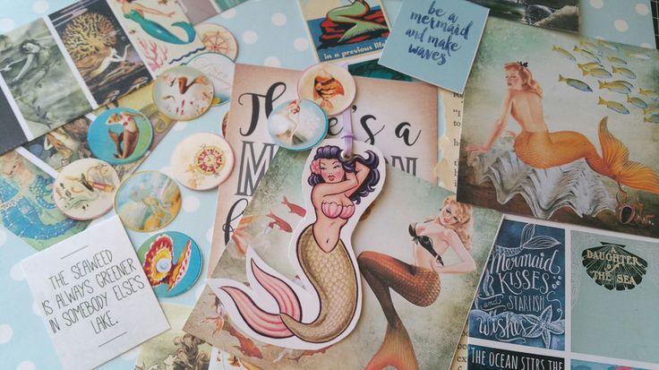 Mermiad Paper COLLECTABLES Die Cut SET,Scrapbook,Vintage Mermaid,paper ephemera