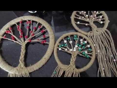 DIY Tutorial - How to Crochet Mandala Dreamcatcher - Sun Dream Catcher Hula Hoop Yarn Bombing - YouTube