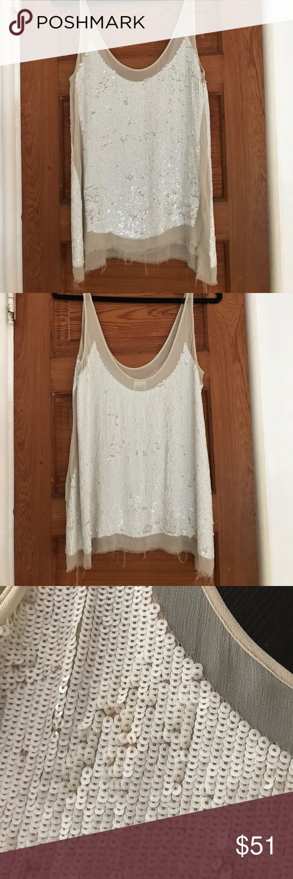 """Allsaints sequin """"Prey"""" vest top tank Swing style vest with tonal machine embellishment. The Prey Vest is panelled to create the key design feature of sheer silk fabric at the side seams and features a raw edge hem. Color: white UK12=US8 perfect like new condition, from Allsaints display All Saints Tops"""