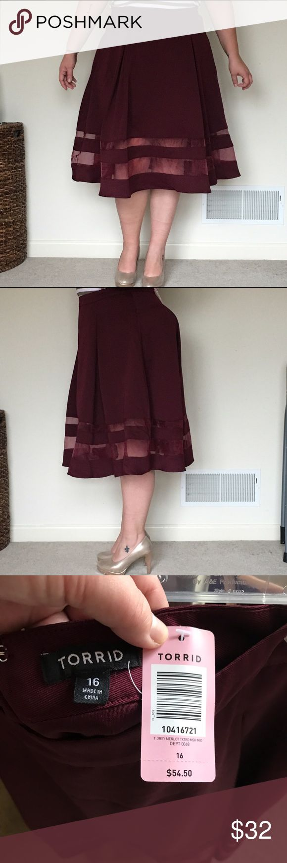 NWT Torrid Cranberry Peek-a-boo Skirt Sz 16 NWT Torrid Cranberry Peek-a-boo Skirt Sz 16. From a smoke free home. Make an offer or bundle to save! torrid Skirts A-Line or Full