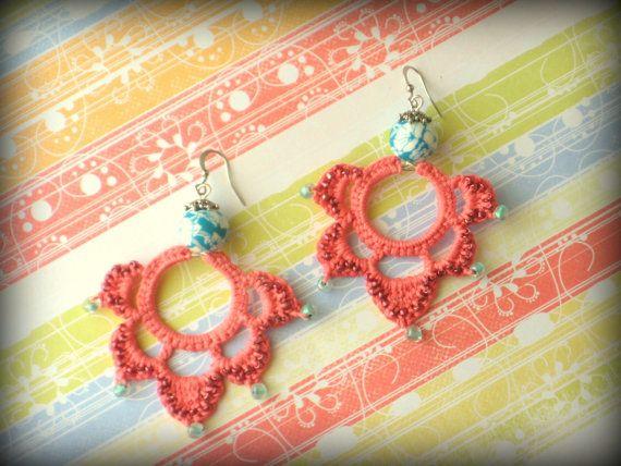 Summer Fiesta Earrings  Coral crocheted earrings by FrivolTees, $27.00