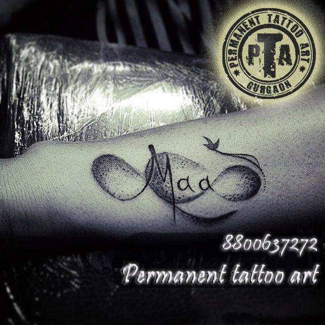 maa tattoo design with infinity and birds, dot tattoo