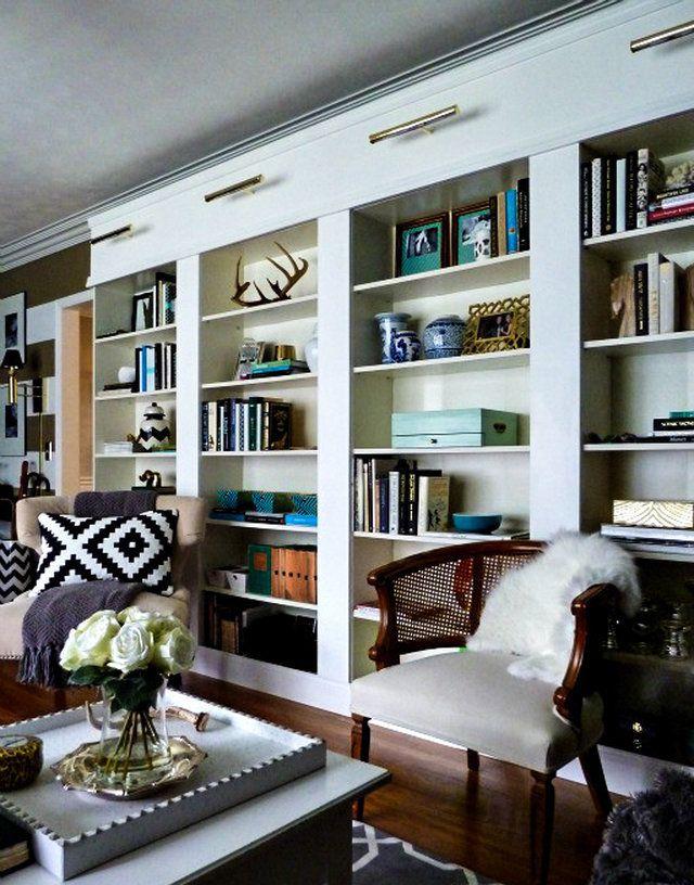 ikea billy bookcase library wall diy storage