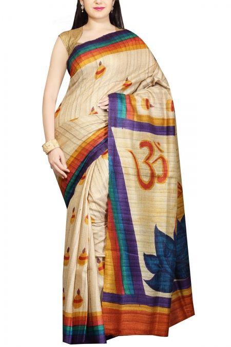 Ecru Hand Painted Ghicha Tussar Silk Saree