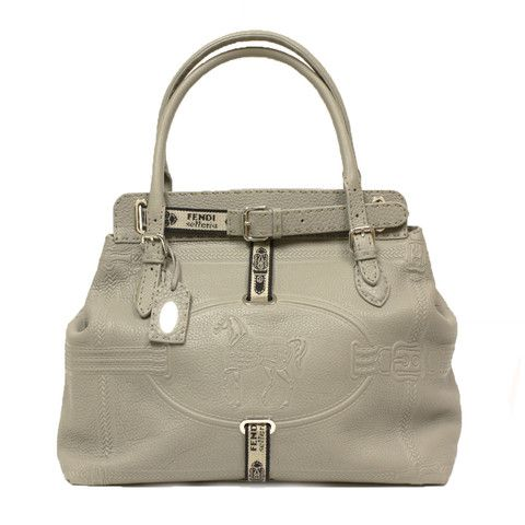 FENDI Silver Pebbled Leather Selleria Large Satchel Bag 8BN156 - LuxuryProductsOnline