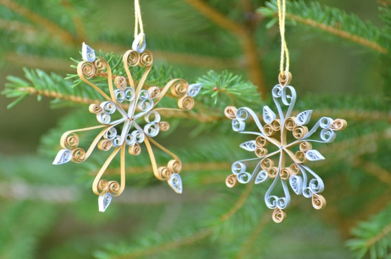 Silver and gold quilled snowflakes by AbandonedAtticCrafts on Etsy, $10.00