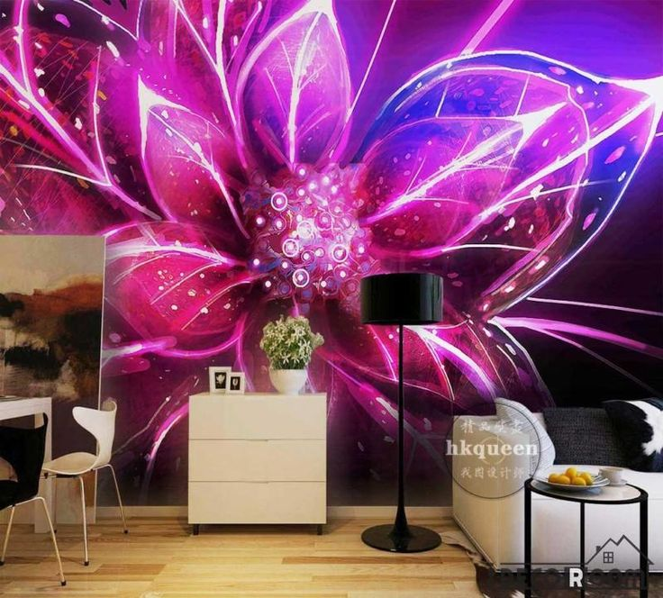 Graphic Design Colorful Flower Poster Living Room Art Wall Murals Wallpaper Decals Prints Decor
