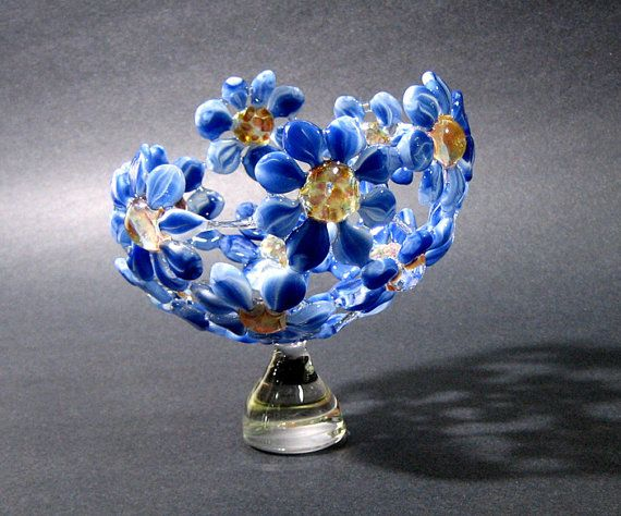 Glass Flower Bowl Sculpture Artisan Crafted Lampwork Glass Original via Etsy