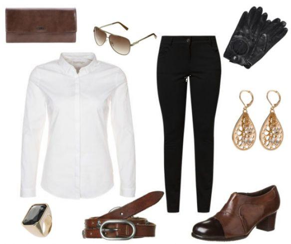 #Sorte #bukser og #hvid #skjorte - #glamour kvinde