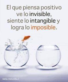 """""""O que pensa positivo vê o invisível, sente o intangível e alcança o impossível.""""  http://www.actitudes.org/galeria-imagenes/#prettyPhoto"""