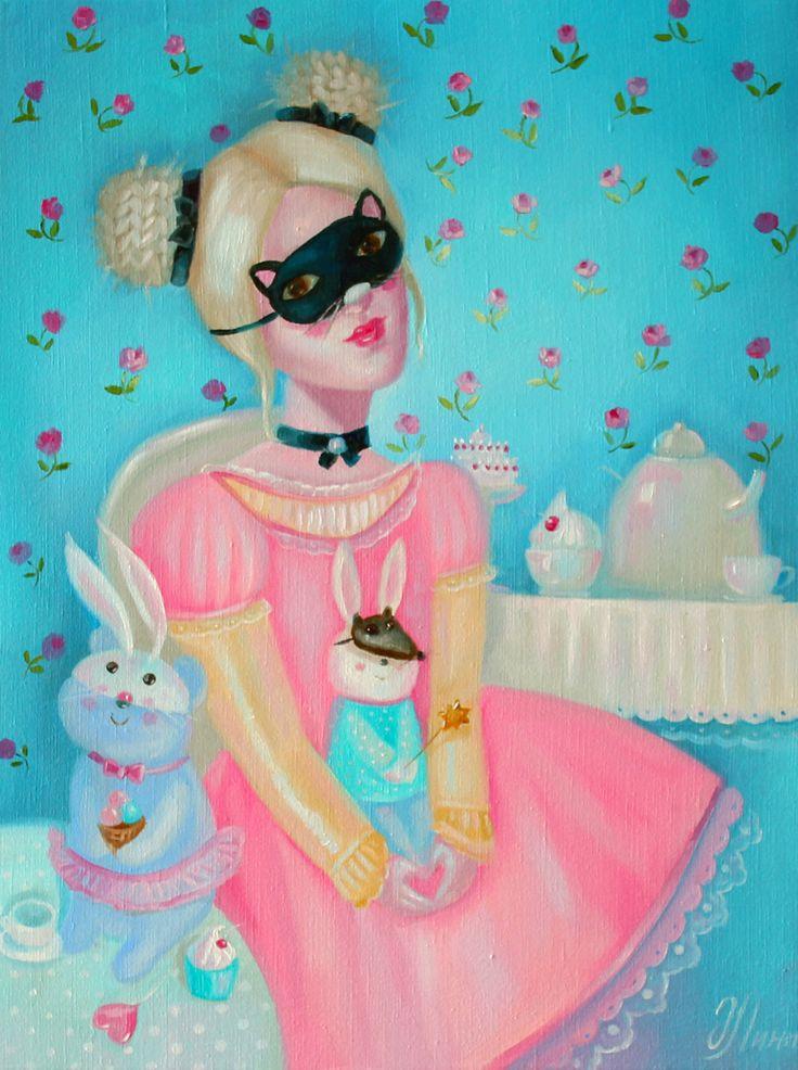 Кошечка, зайка и серый волк #art #paintung #illustration #children #lovely #pinkdress