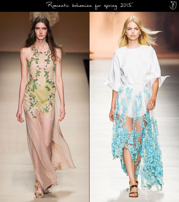 fashionising, Bohemian fashion spring 2015: Delicate floral appliques.  on maxi dresses, where they are expected to add substance to the soft, subdued colour palettes, and balance out the use of transparency; on asymmetrical skirts cut in sheer fabrics, to be styled with crisp, minimalist blouses and shirts, and flat sandals.