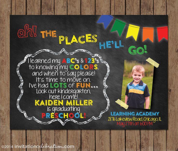 44 best graduation invitations images on pinterest grad parties dr seuss preschool graduation invitation kindergarten chalkboard oh the places you filmwisefo