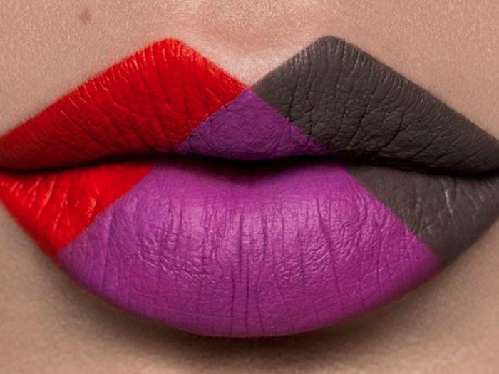 This geometric lip art is amazing!