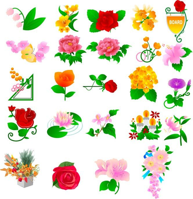Color Flowers Vector Vintage EPS PNG Ornamental Design Elements Digital Download Transparent Background Clipart Clip Art by SlavGraphics on Etsy