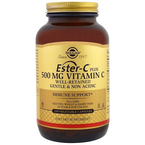 Solgar, Ester-C Plus, 500 мг, 250 капсул  1 капсула два раза в день!!!
