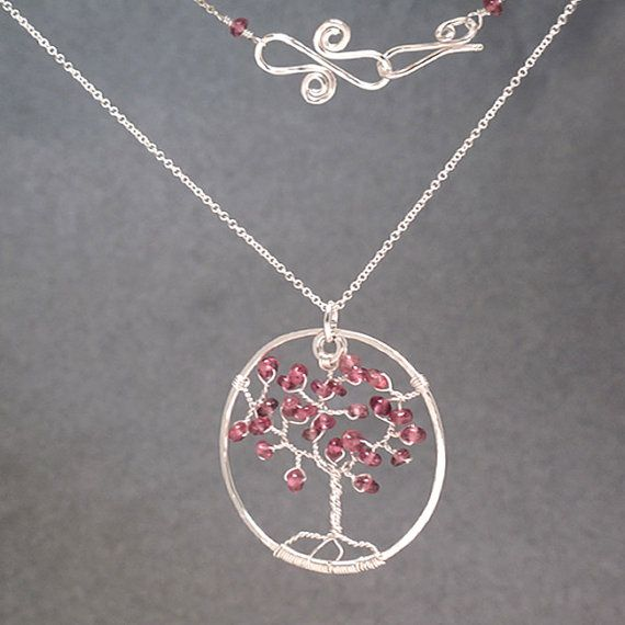 Collar árbol de la vida con turmalina rosa de perlas collar de