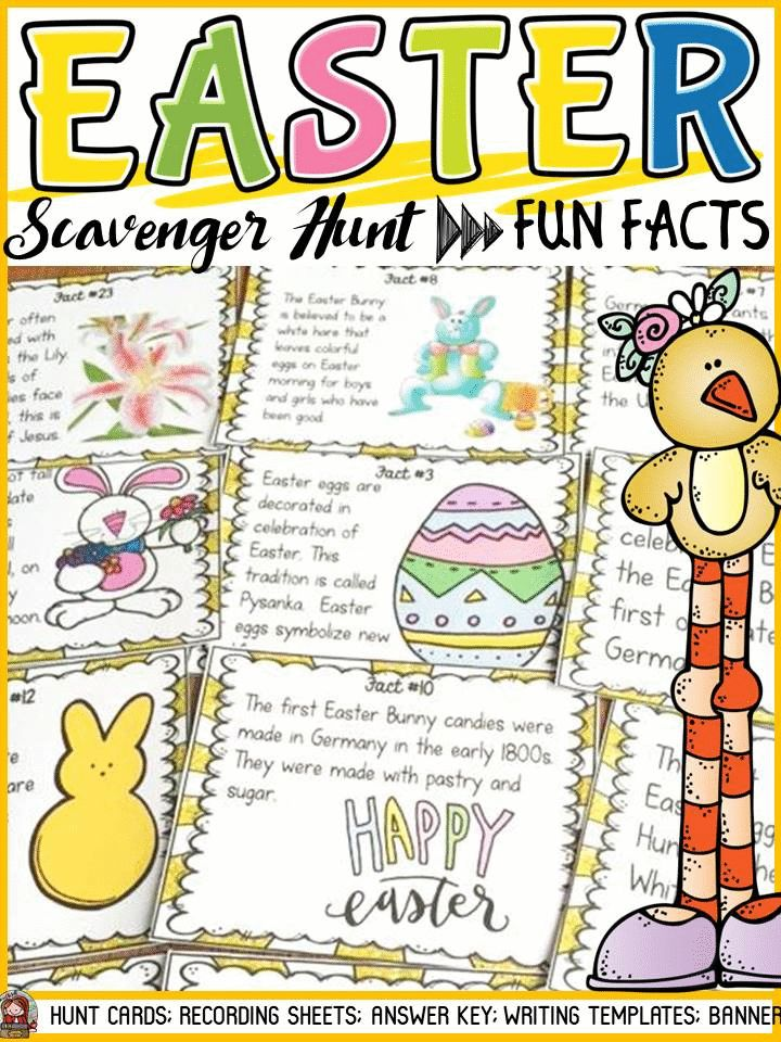 Is the Easter Bunny a hare or a rabbit? How many million Peeps are sold each year during Easter? What part of the chocolate Easter Bunny should you eat first? Your students will enjoy knowing the answers to these and many more interesting questions with this 32 Scavenger Hunt Fun Facts pack on Easter. Please note only Fact Card 1 outlines why Easter is celebrated.https://www.teacherspayteachers.com/Product/EASTER-SCAVENGER-HUNT-2441510