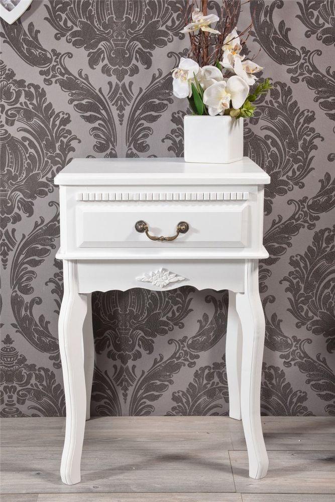 Nachttisch Nachtschrank Kommode weiss mit  Blumenornament *241 in Möbel & Wohnen, Möbel, Nachttische & Nachtkonsolen   eBay!