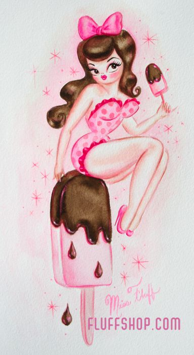Ice Cream Popsicle Pin Up Doll- painting by Miss Fluff http://cgi.ebay.com/ws/eBayISAPI.dll?ViewItem&item=171269373827