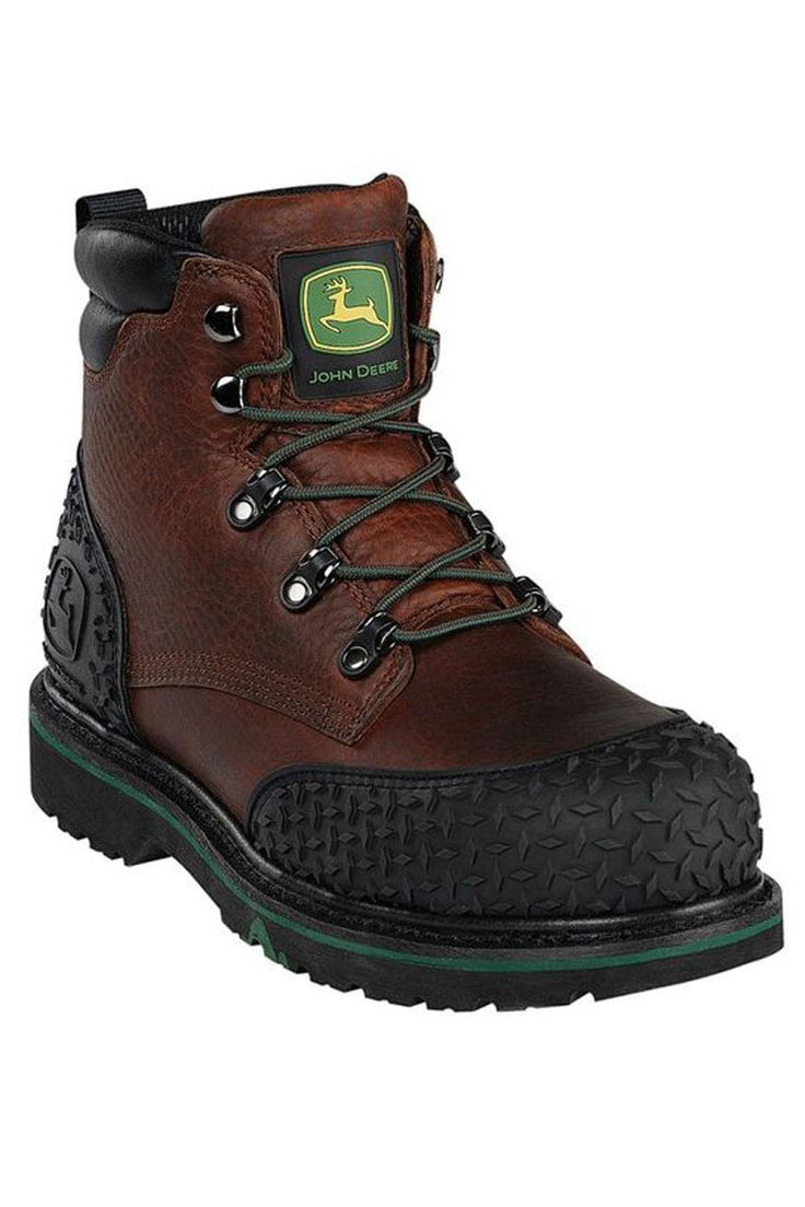 "John Deere Work Boots on Sale @ HeadWest - 6"" Steel Toe Dark Brown Rubber Toe and Heel Guards Work Boots"