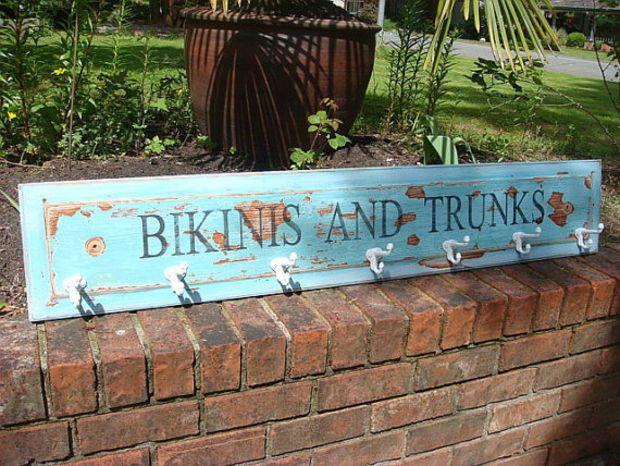 Beach House Hook Rack Sign Turquoise Bikinis and Trunks Coat Rack
