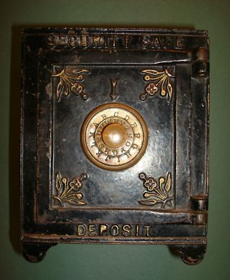ANTIQUE RARE CAST IRON SECURITY SAFE DEPOSIT BANK TOY