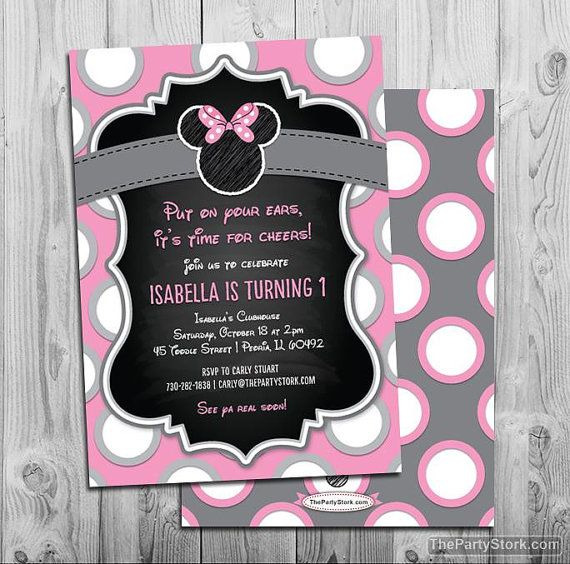 Best 25 minnie mouse birthday invitations ideas on pinterest minnie mouse birthday invitations printable chalkboard style girls party invitation grey pink black polka dots first 1st birthday solutioingenieria Images