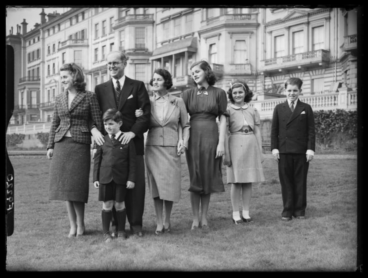 Joseph and Rose Kennedy and Family, London - Description:  A photograph of Joseph and Rose Kennedy and family in London, taken in 1938 by Saidman for the Daily Herald.     From left to right are Kathleen, Joseph Sr (1888-1969), Rose (1890-1995), Patricia (1924-2006), Jean (b. 1928), Bobby (1925-1968), with Teddy (1932-2009) at the front. Joseph Kennedy was an American politician, and father of US President John F Kennedy (1917-1963).