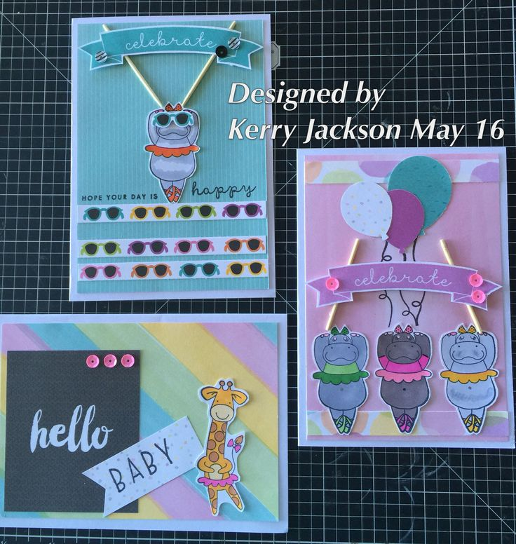 Some card ideas I designed using CTMH Calypso Paper Pack and CTMH Safari Ballet stamp set