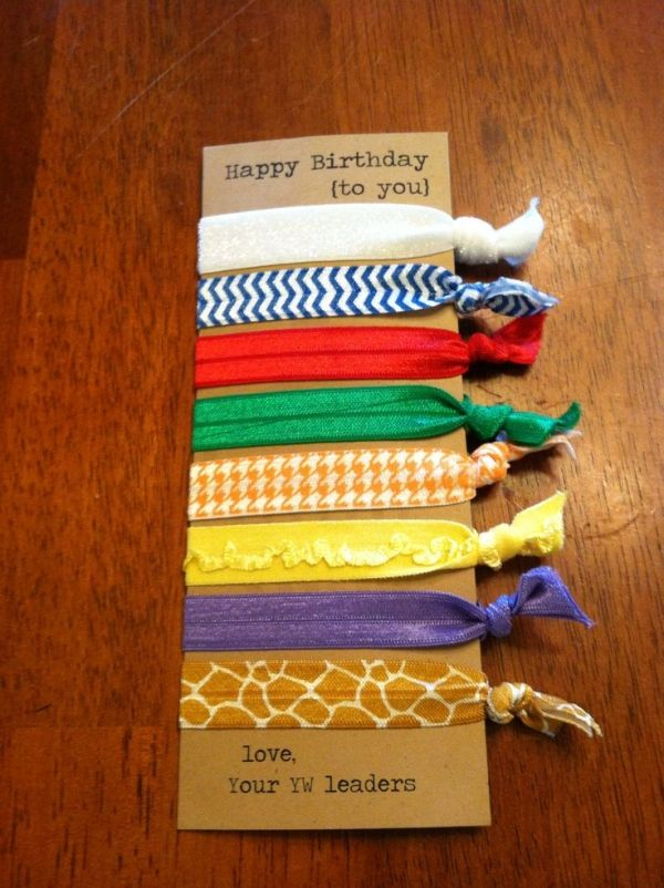 YW / Young Women Birthday Gift - Elastic Hair Ties  We ordered all the value colors in different patterns from Etsy.  These were so easy to make and our girls have loved them! by consuelo