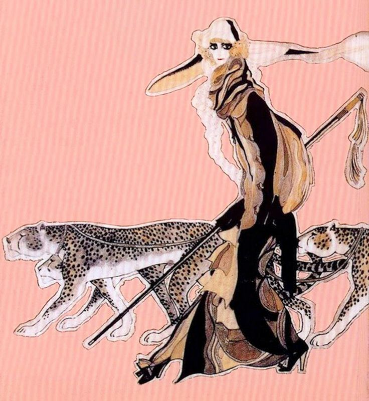 Leon Bakst: Marchesa Luisa Casati, with two cheetahs, 1912