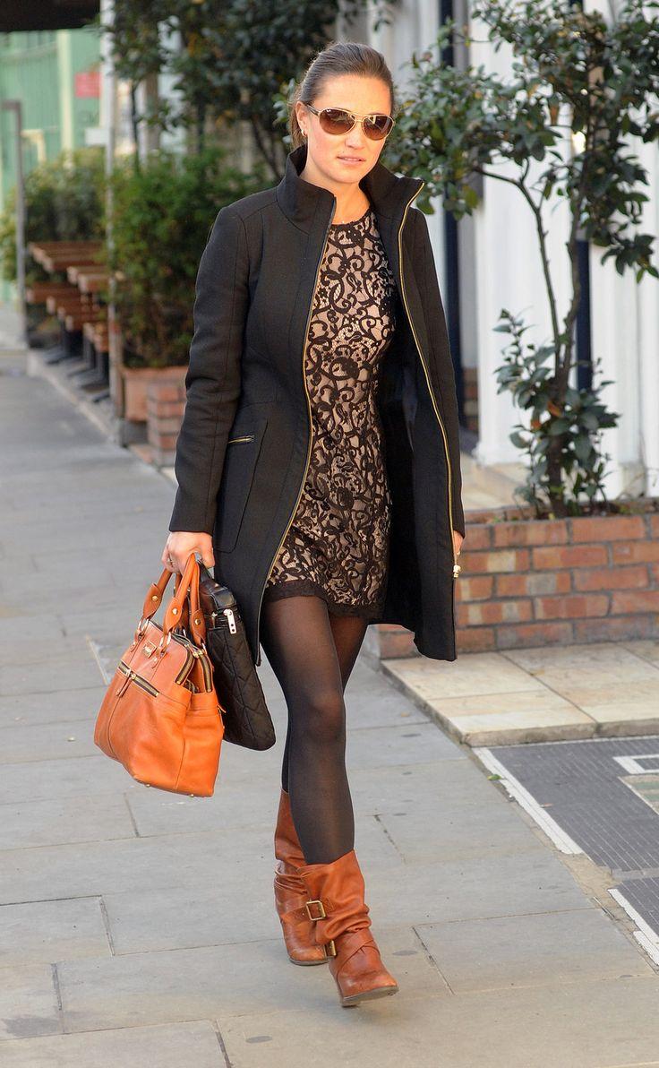 pippa middleton medalion print ress black tights brown