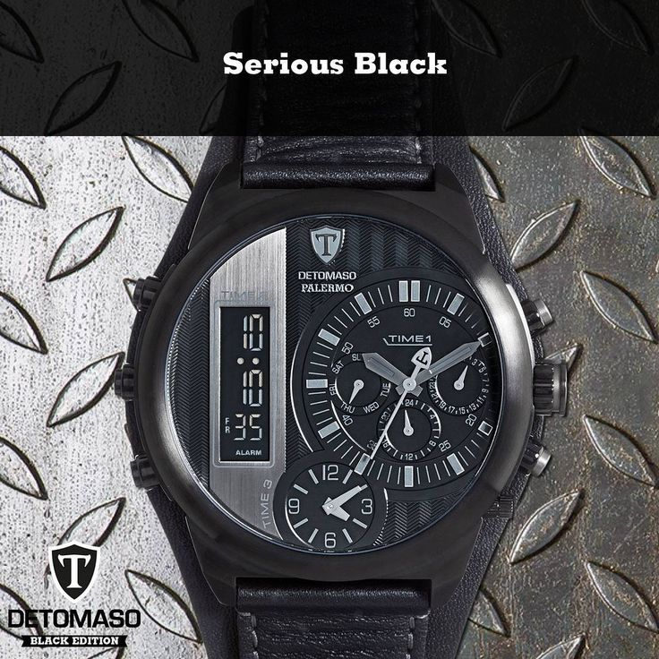 Nothing is as serious or as elegant as black. That's what makes our PALERMO BLACK EDITION with its 3 time zones, date, weekday, 24h, xxl size and the digital chronograph even better!  Alas, it is no time turner, yet… but what is life without a little risk?  #black #magic #edition #serious #serius #harrypotter #potterheads #menswatch #men #man #watch #fashion #style #funny #sayings