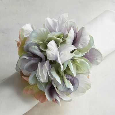Blue Hydrangea Flower Napkin Ring