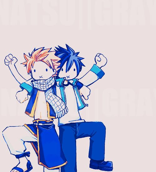 Natsu and Gray when Erza's looking...