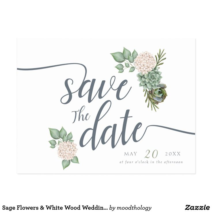 Sage Flowers & White Wood Wedding Save The Date