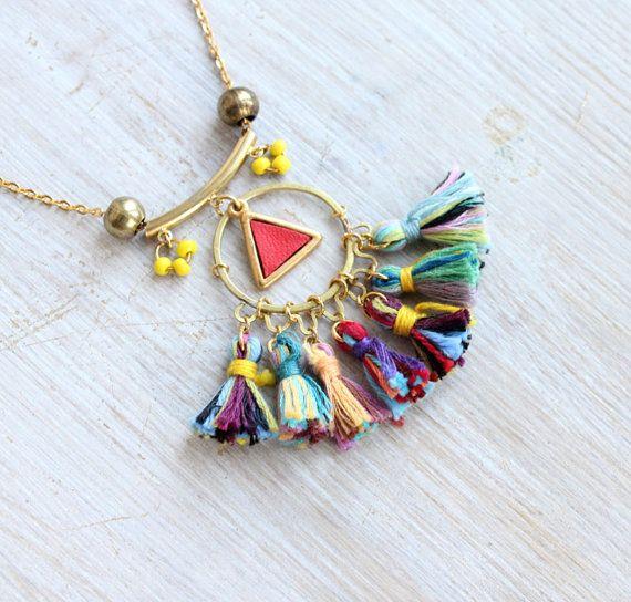 Rainbow tassels necklace /// Nina /// Brass leather and by Tzunuum, $65.00