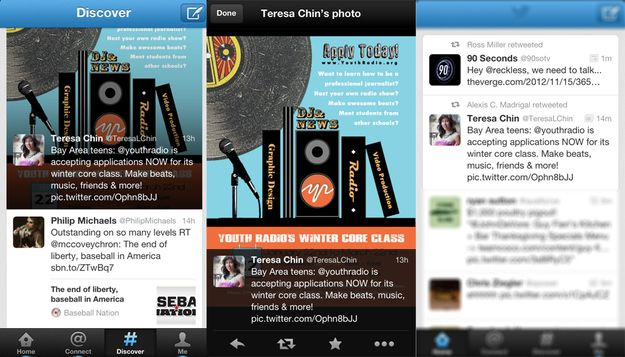The new Discover page, full-screen photos and retweet style.