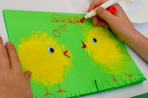 Easy spring chicks, or Easter card, etc.  Could even use in a farm unit.