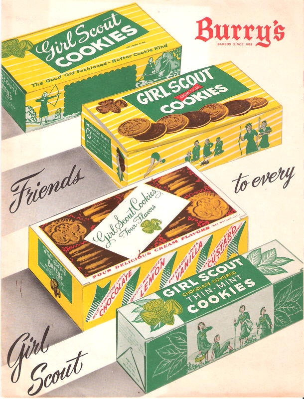Vintage Ad For Burry's Girl Scout Cookies, including Thin Mints!