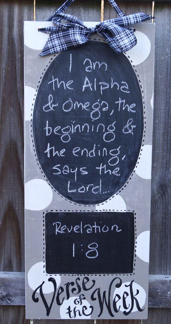 Verse of the Week Chalkboard  greige polkadot by kijsa on Etsy