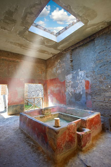 Fullery of Stephanus on the Via dell' Abbondanza, Pompeii. Fulleries were an important business in ancient Pompeii. Fullers processed, dyed, and washed cloth