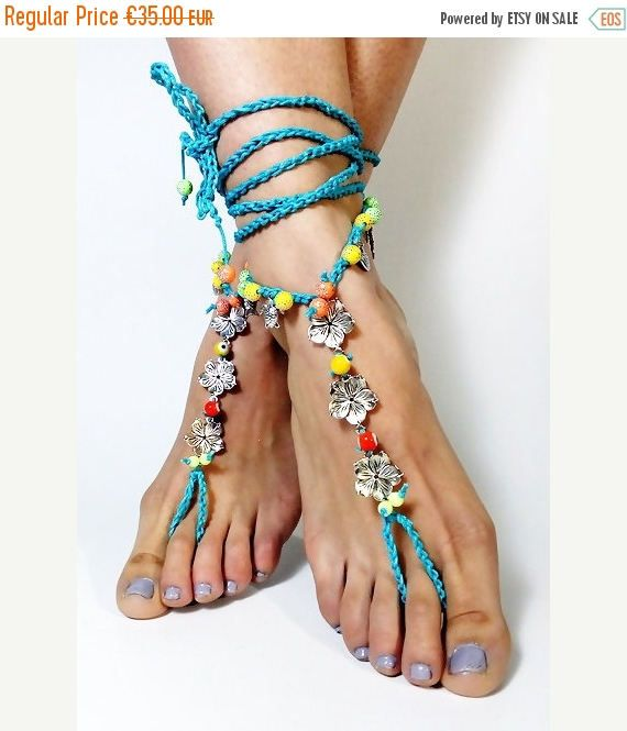 ON SALE Barefoot Sandals, blue, crochet barefoot boho bohemian gypsy shoes